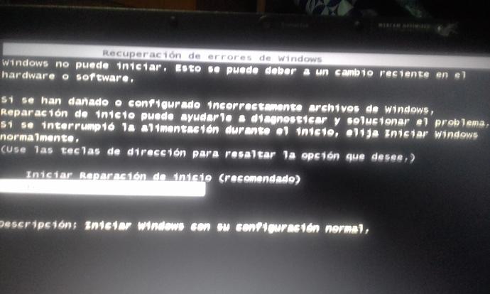 Recuperacion de errores de windows 7 entra en bucle - Ayuda