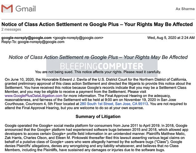 Correo electrónico de solución de demanda de Google+ 2020