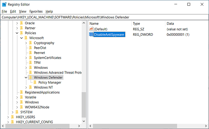 Valor DisableAntiSpyware