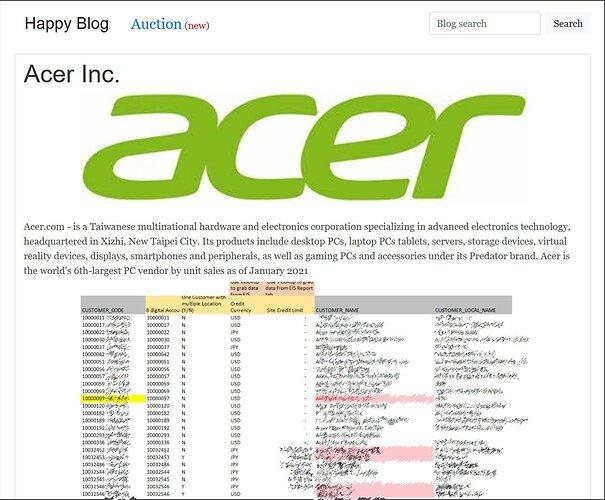 Fuga de datos de Acer en el sitio de ransomware REvil