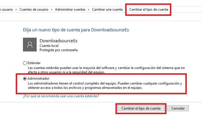 Cambiar derechos de administrador en Windows 10