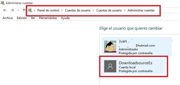 cambiar tipo de Cuenta en Windows 10