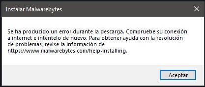 Malwarebytes error