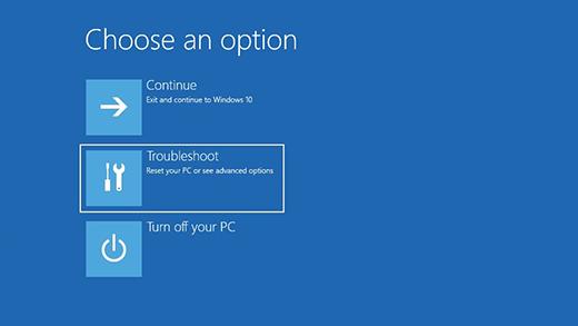 Elegir una pantalla de opciones en el Entorno de recuperación de Windows.