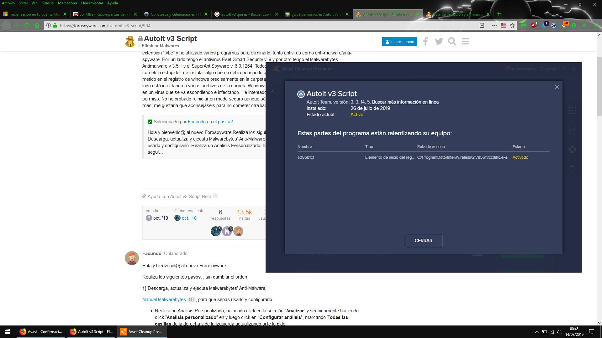 Autolt V3 script - Eliminar Malwares - ForoSpyware