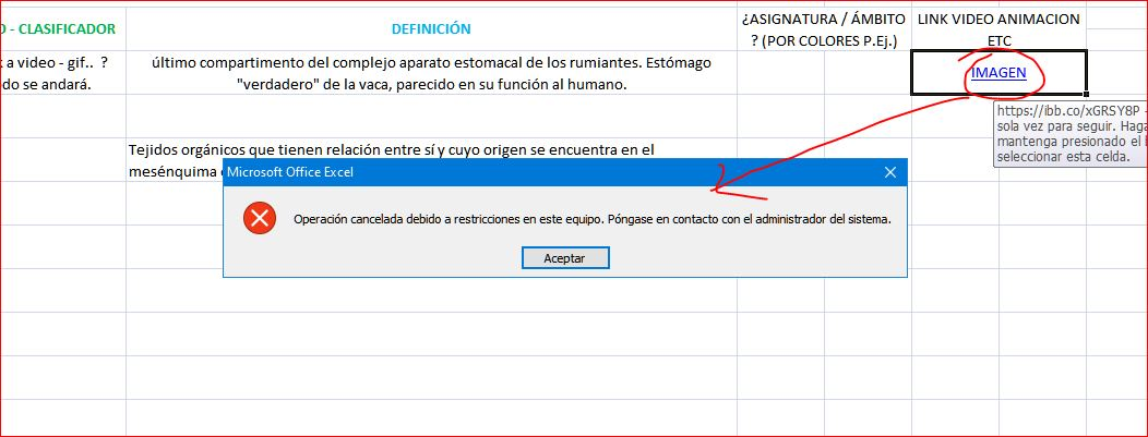 error abril links word excel etc