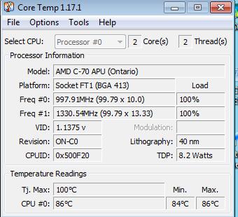 temperatura del cpu inicial